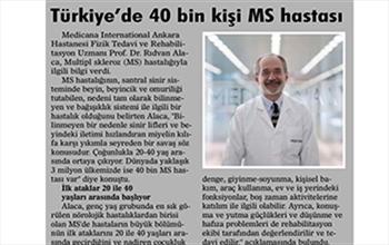 TÜRKİYE'DE 40 BİN KİŞİ MS HASTASI